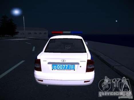 ВАЗ 2170 Приора ДПС для GTA San Andreas вид сзади