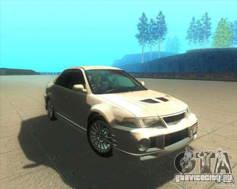 Mitsubishi Lancer Evolution VI 1999 Tunable для GTA San Andreas вид снизу