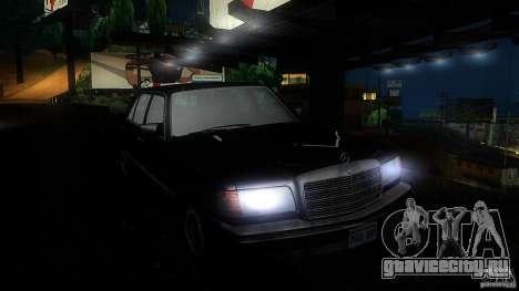 Mercedes Benz 560SEL w126 1990 v1.0 для GTA San Andreas вид изнутри