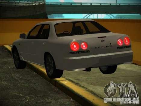 Nissan Skyline ER34 для GTA San Andreas вид изнутри