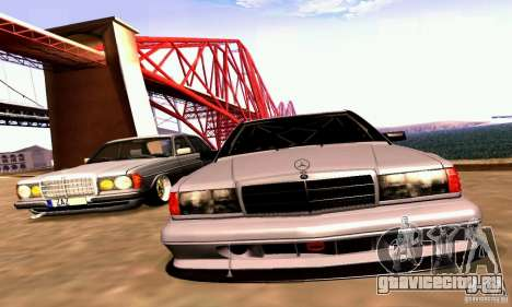 Mercedes-Benz 190E Drift для GTA San Andreas вид изнутри