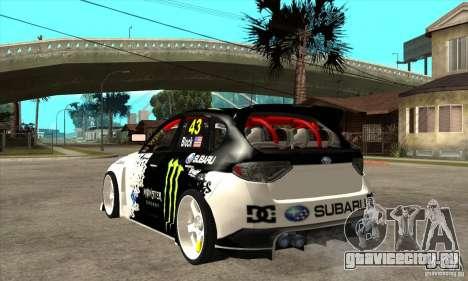 Subaru Impreza 2009 (Ken Block) для GTA San Andreas вид сзади слева