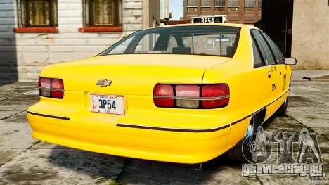 Chevrolet Caprice 1991 LCC Taxi для GTA 4 вид сзади слева