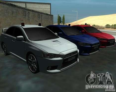 Mitsubishi Lancer Evolution X MR1 v2.0 для GTA San Andreas вид сзади
