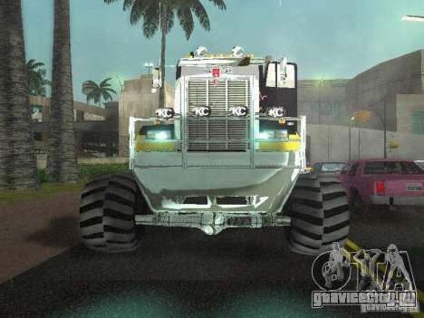 Kenworth W900 Monster для GTA San Andreas вид изнутри