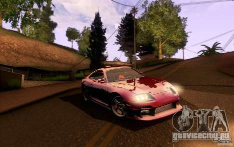 Toyota Supra Top Secret для GTA San Andreas вид изнутри