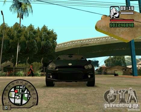 Volswagen Scirocco для GTA San Andreas вид изнутри