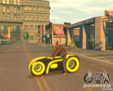 Мотоцикл из Трон (желтый неон) для GTA 4 вид слева