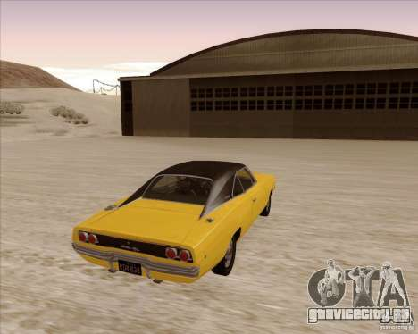 Dodge Charger RT 1968 Bullit clone для GTA San Andreas вид справа