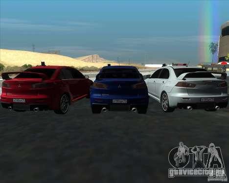 Mitsubishi Lancer Evolution X MR1 v2.0 для GTA San Andreas вид изнутри