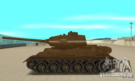Танк T-34 для GTA San Andreas вид слева