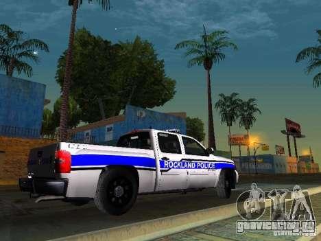 Chevrolet Silverado Rockland Police Department для GTA San Andreas вид сзади слева