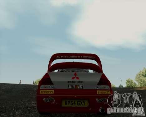 Mitsubishi Lancer Evolution VIII WRC для GTA San Andreas вид сзади слева