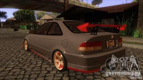 Honda Civic SI для GTA San Andreas вид сзади слева