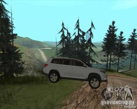 Toyota Highlander для GTA San Andreas вид сзади