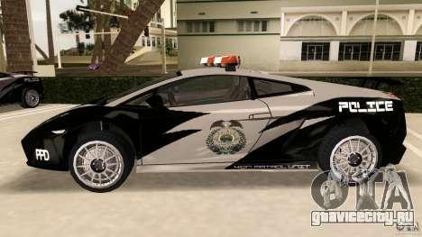 Lamborghini Gallardo Police для GTA Vice City вид слева