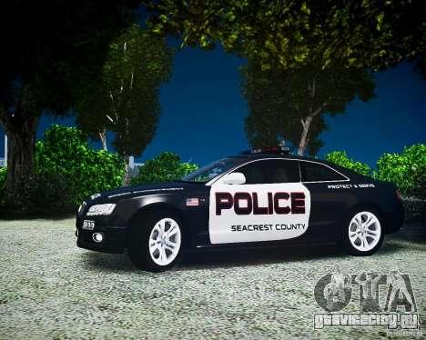 Audi S5 Police для GTA 4 вид сзади слева