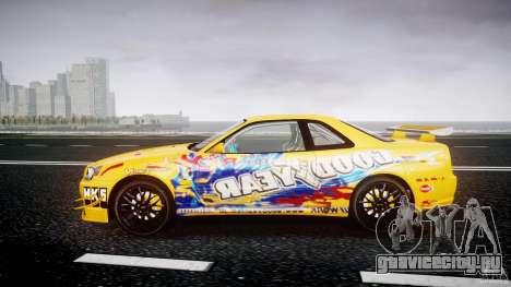 Nissan Skyline R34 GT-R Tezuka Goodyear D1 Drift для GTA 4 вид слева