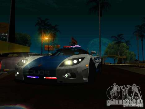 Koenigsegg CCX Police для GTA San Andreas вид сзади