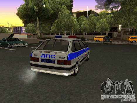 ВАЗ 2114 Полиция для GTA San Andreas вид сзади слева