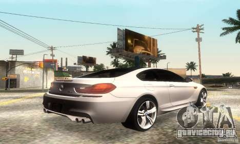 BMW M6 Coupe 2013 для GTA San Andreas вид сзади