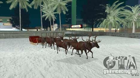 Оленья упряжка Деда Мороза для GTA San Andreas вид сзади