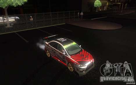 Mitsubishi Lancer Evolution X Gymkhana для GTA San Andreas вид сзади