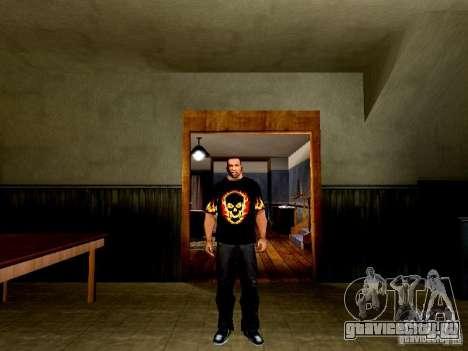 Черная футболка с огненным черепом для GTA San Andreas