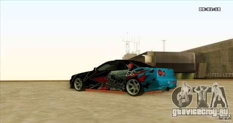 Nissan Skyline R34 Evil Empire для GTA San Andreas вид сзади