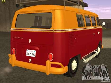 Volkswagen Transporter T1 Camper для GTA San Andreas вид сзади слева