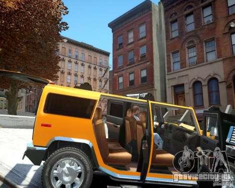 Hummer H2 2010 Limited Edition для GTA 4 вид изнутри