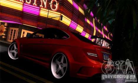 Mercedes Benz C63 AMG для GTA San Andreas вид изнутри