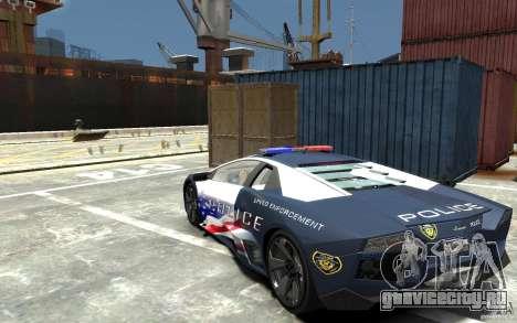 Lamborghini Reventon Police Stinger Version для GTA 4 вид сзади слева