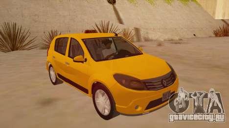 Renault Sandero Taxi для GTA San Andreas вид сзади