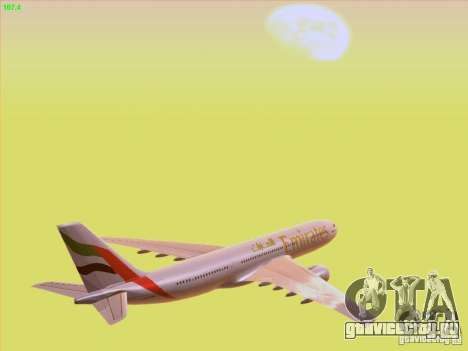 Airbus A330-200 Emirates для GTA San Andreas вид сверху