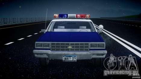 Chevrolet Impala Police 1983 для GTA 4 вид снизу