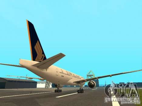 Boeing 777-200 Singapore Airlines для GTA San Andreas вид справа