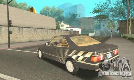 Mercedes-Benz W126 560SEC для GTA San Andreas вид изнутри