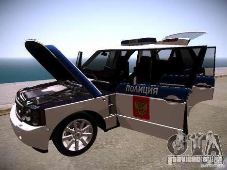 Range Rover Supercharged 2008 Полиция ГУВД для GTA San Andreas вид сверху