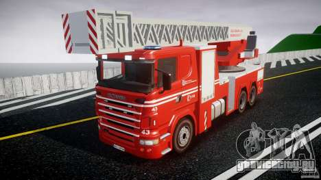 Scania Fire Ladder v1.1 Emerglights blue [ELS] для GTA 4