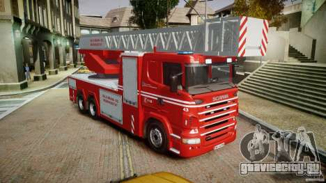 Scania Fire Ladder v1.1 Emerglights blue [ELS] для GTA 4 вид справа