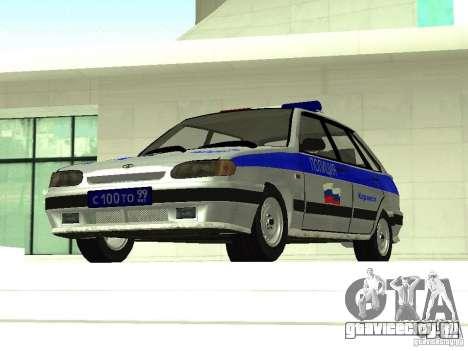 ВАЗ 2114 Полиция для GTA San Andreas вид сзади