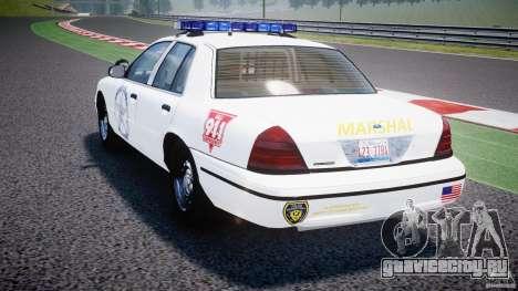 Ford Crown Victoria US Marshal [ELS] для GTA 4 вид сзади слева