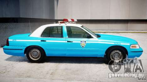Ford Crown Victoria Classic Blue NYPD Scheme для GTA 4 вид сзади слева