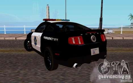 Ford Shelby Mustang GT500 Civilians Cop Cars для GTA San Andreas вид сзади слева