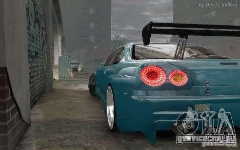 Nissan SkyLine BNR34 для GTA 4 вид сзади