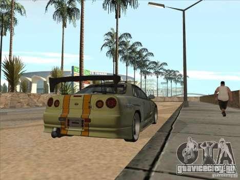 Nissan Skyline R34 VeilSide для GTA San Andreas салон