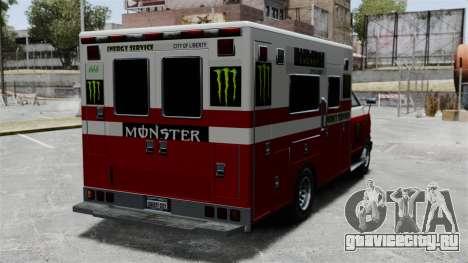 Скорая помощь Monster Energy для GTA 4 вид справа