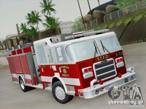 Pierce Pumpers. San Francisco Fire Departament для GTA San Andreas вид слева