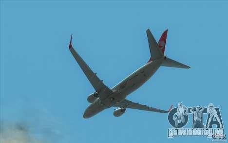 Boeing 737-800 THY для GTA San Andreas вид сзади